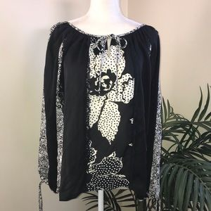 Freestyle Boho Lace Edged Poly Peasant Top 9A M